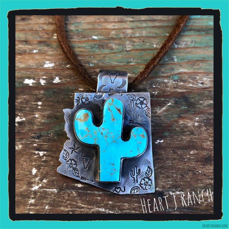 Turquoise Cactus On Sterling Silver Arizona - Necklace