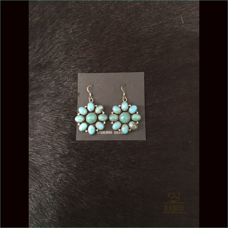 Turquoise Cluster Flower Earrings - Earrings