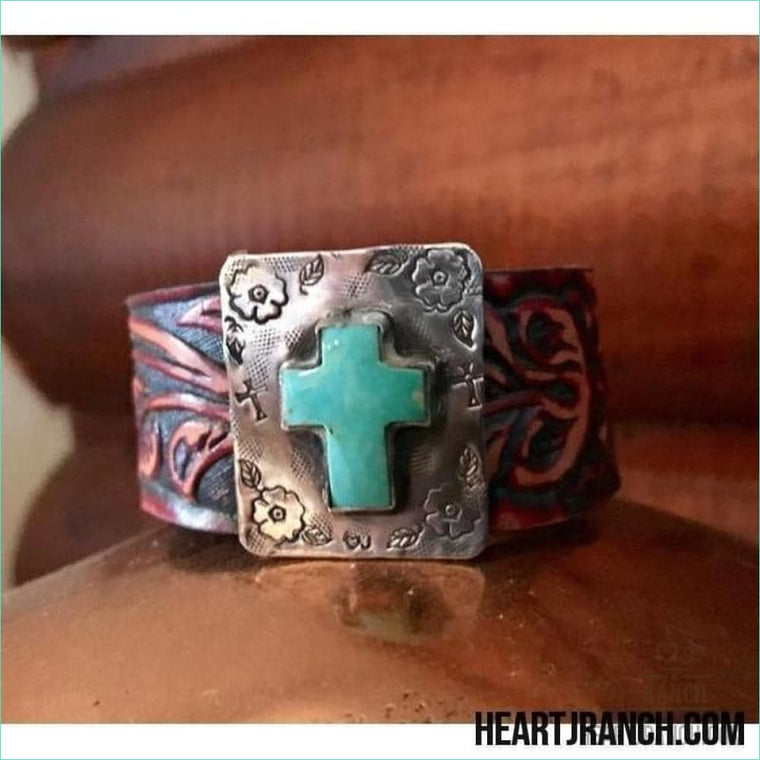 Turquoise Cross 7 1 / 8 Leather Cuff - Cuff