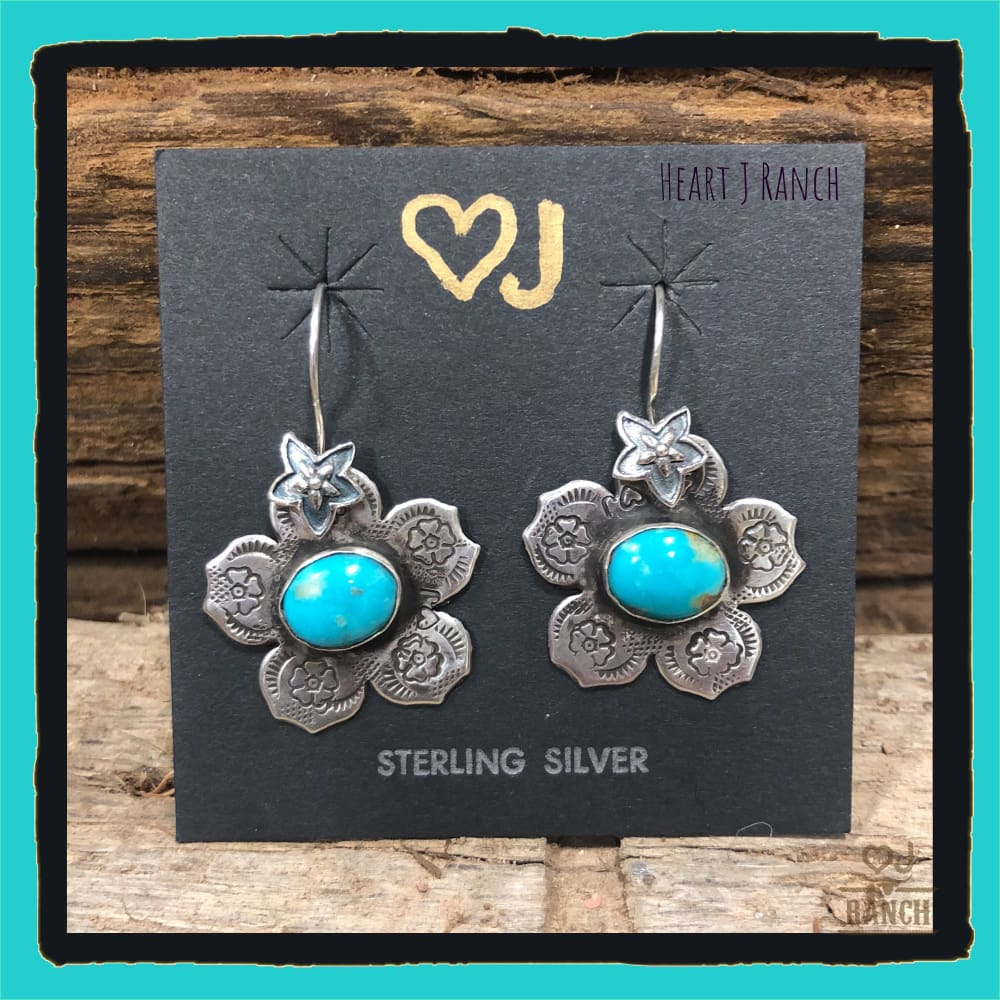 Turquoise Flower Earrings - Earrings