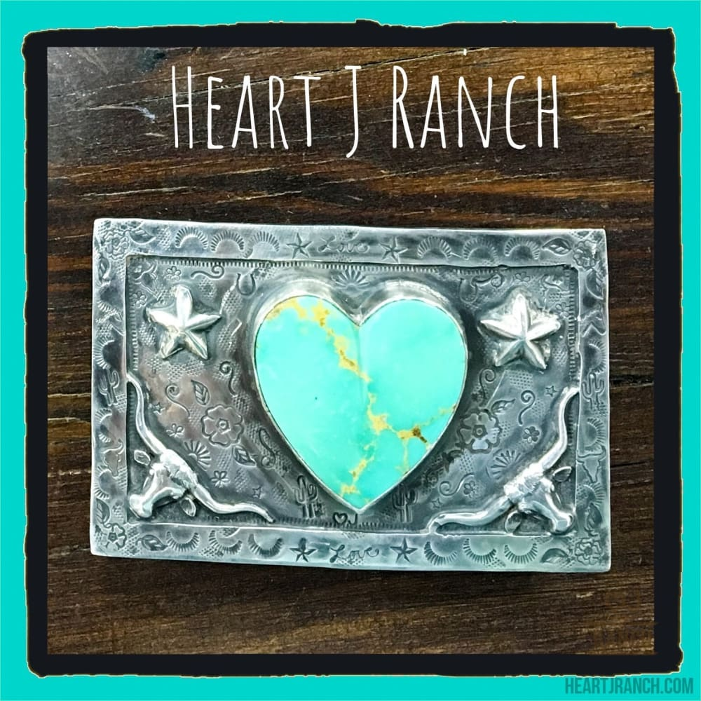 Turquoise Heart Buckle - Belt Buckle