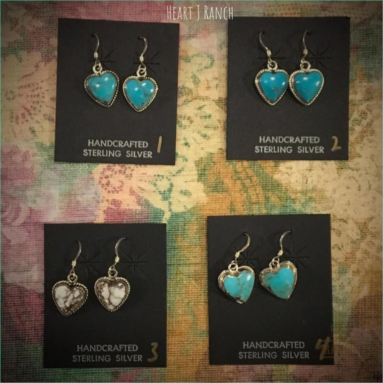 Turquoise Heart French Earrings - Earrings