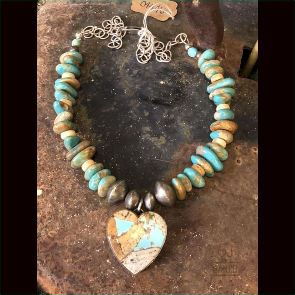 Turquoise Heart Pendant Necklace With Chain