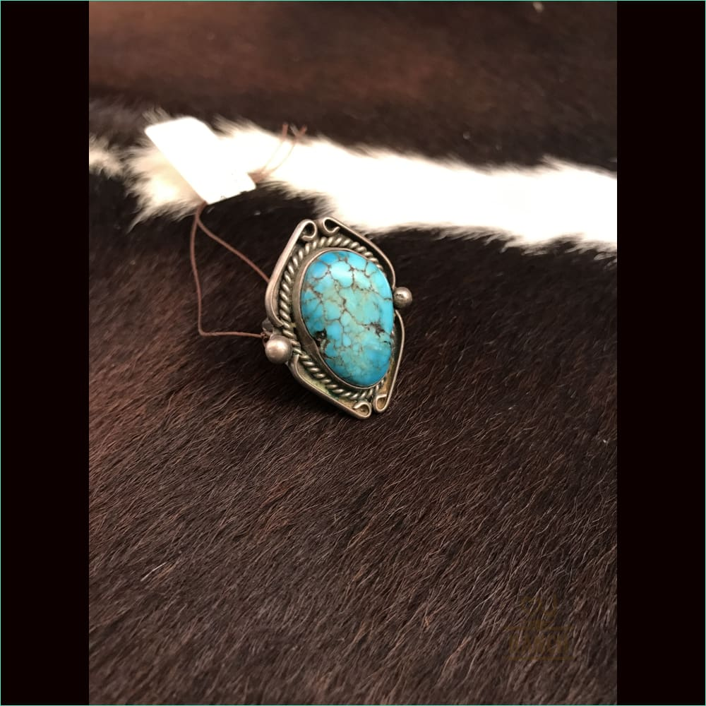 Vintagesterling Silver Ring With Turquoise Stone - Ring