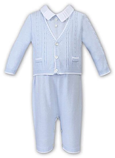 Sarah Louise Baby Boys Blue & White All In One
