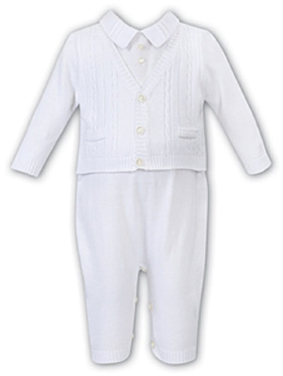 Sarah Louise Baby Boys White All In One  SKU  008100W
