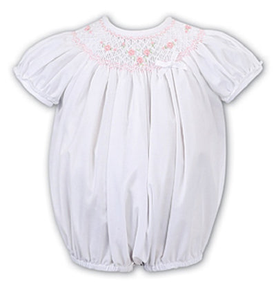 Pre Order Sarah Louise Baby Girls White & Pink Smocked Bubble Romper  SKU  011632