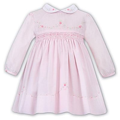 Pre Order Sarah Louise Baby Girls Pink & White Smocked Dress  SKU  011637