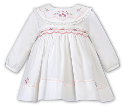 Sarah Louise Baby Girl White & Pink Smocked Dress SKU  011639
