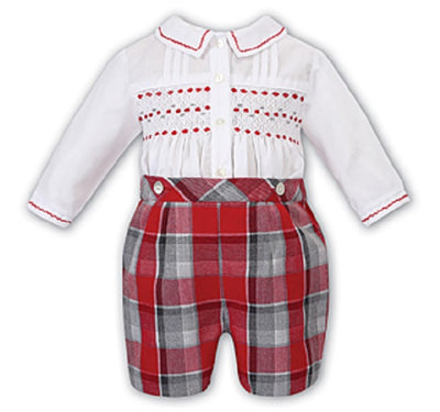 Pre Order Sarah Louise Baby Boys Red & Grey 2pc Set SKU  011730