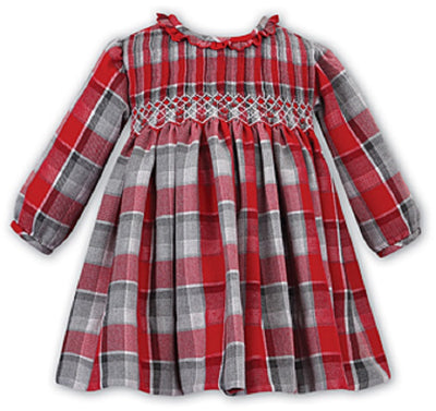 Pre Order Sarah Louise Baby Girls Red & Grey Checked Smocked Dress  SKU  011733