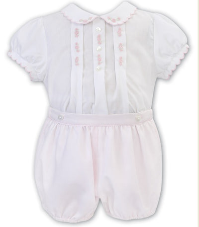 Sarah Louise Baby Girls White & Pink Set