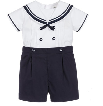 Sarah Louise Baby Boys Navy & White Sailor Outfit