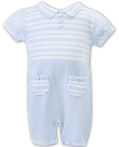 Sarah Louise Baby Boys Blue & White Romper