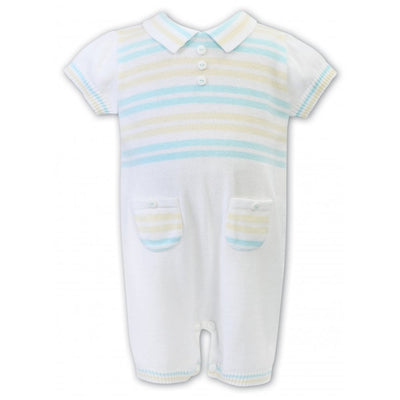 Sarah Louise Baby Boys Lemon/Mint & White Romper
