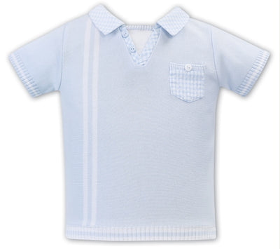 Sarah Louise Baby Boys Gingham Blue & White 2 Piece Set