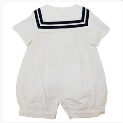 Little Darlings Romany Baby Boys Ivory Sailor Collar Romper