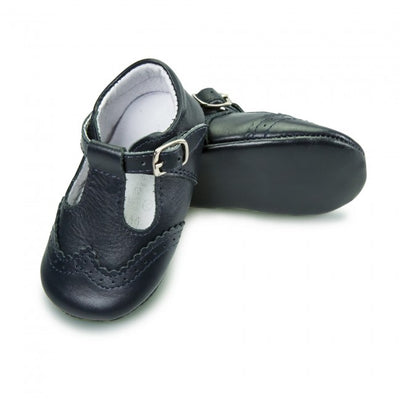 Babyshoes Baby Boys Navy Leather Soft Sole T-Bar