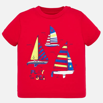 Mayoral Baby Boys Short sleeved t-shirt with sailing print SKU 1045-14 - S/S20