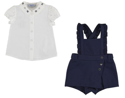Mayoral Baby Girls Navy Blouse with Embroidered Neck and Overalls - SKU - 1113-1635