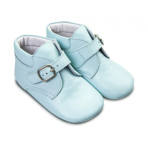 Borboleta Baby Boys Pale Blue Leather Soft Sole Buckle Boot