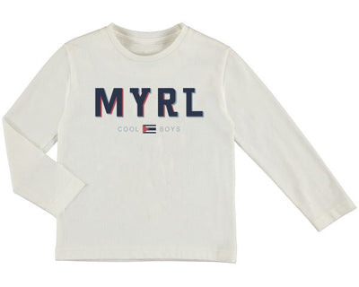 Pre Order Mayoral Boys Cream Long sleeved basic MYRL t-shirt  SKU 173-78