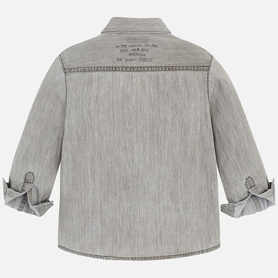Mayoral Grey Long Sleeve Denim Shirt SKU 4152-38