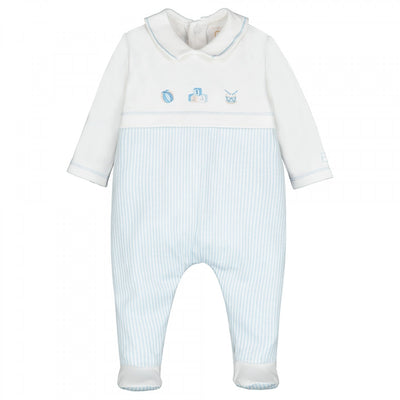 Emile et Rose Stan Blue Striped Babygrow  SKU 1874PB  S/S20