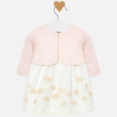 Mayoral Baby Girls Pink and Off White Cardigan Embroidered Dress
