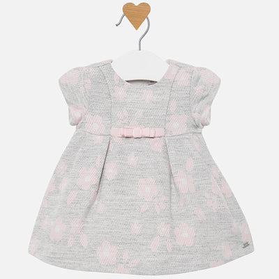 Mayoral Baby Girls Grey Flowers Jacquard Dress