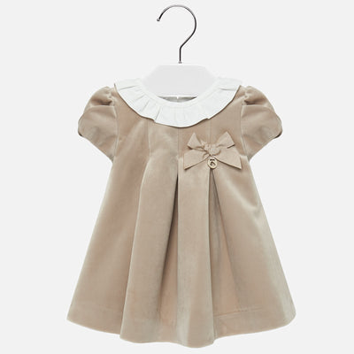 Mayoral Baby Girls Beige Velvet Dress  SKU 2910-50