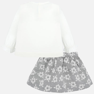 Mayoral Baby Girls Silver Jacquard Flowery Skirt Set  SKU 2935-28