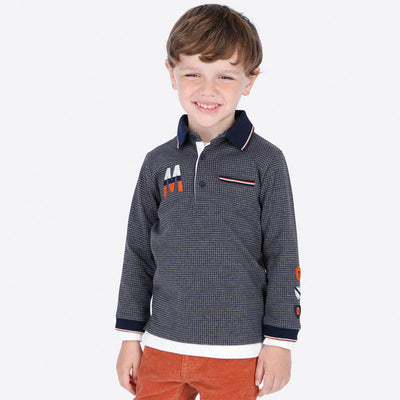 Mayoral Boys Grey L/s Printed Polo Shirt