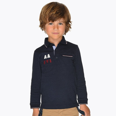 Mayoral Boys Navy L/s Printed Polo Shirt SKU 4109-15