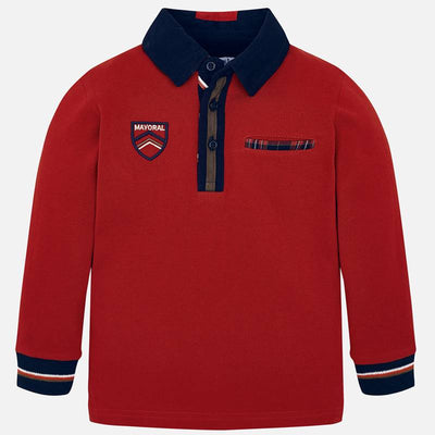 Mayoral Boys Red L/s Polo Shirt SKU 4110-75