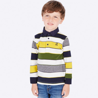 Mayoral Boys Navy, Yellow & Green Striped Polo Shirt