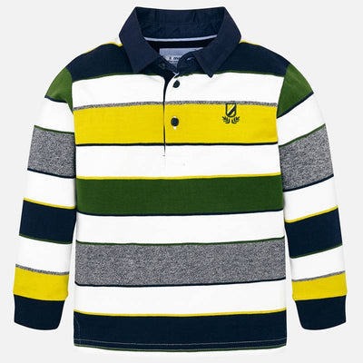 Mayoral Boys Cream L/s Striped Polo Shirt  SKU 4114-11