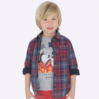 Mayoral Boys Red Checked Overshirt SKU 4117-85