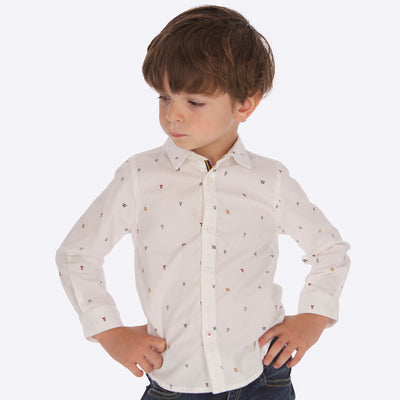 Mayoral Boys White  L/s Printed Polo Shirt  SKU 4123-18