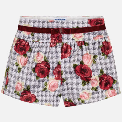 Mayoral Girls Red Velvet Printed Shorts SKU 4202-22