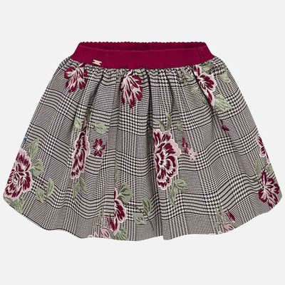 Mayoral Girls Brown Jacquard Rose Skirt SKU 4908-95