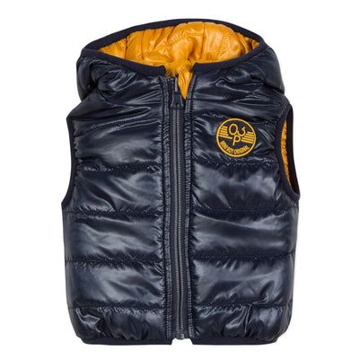 3pommes Boys Camel and Navy Reversible Gilet  SKU 3P16013-622