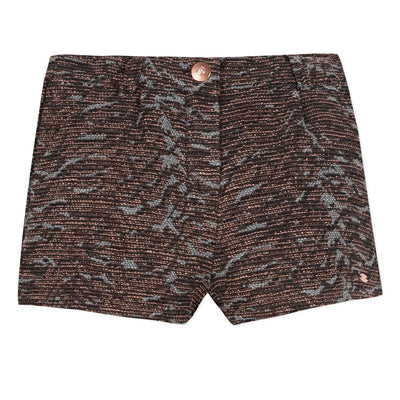 3pommes Brown & Gold Glitter Shorts