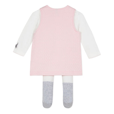 3pommes Baby Rose Dress Set With Tights- SKU - 3P36010-300