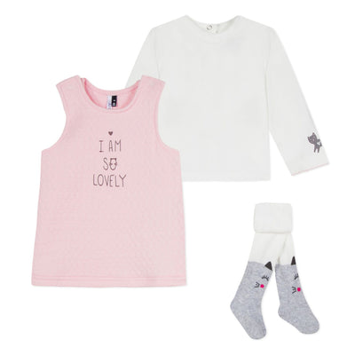 3pommes Baby Pink Dress Set With Tights