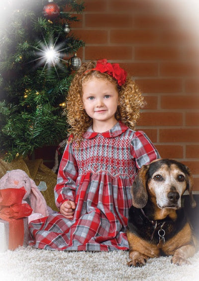 Sarah Louise Baby Girls Red & Grey Checked Smocked Dress