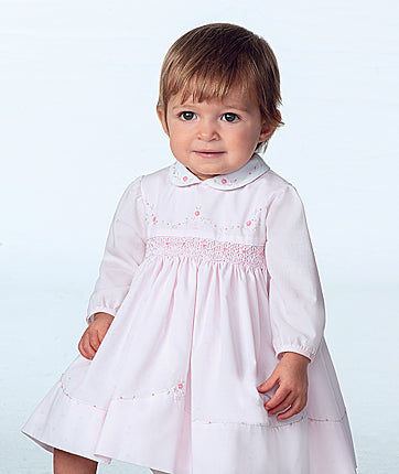 Sarah Louise Baby Girls Pink & White Smocked Dress