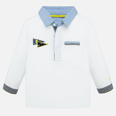 Mayoral Baby Boys White Long sleeved print polo shirt  SKU 1154-78 - S/S20