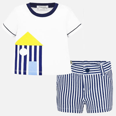 Mayoral Baby Boys T-shirt with house design and striped shorts