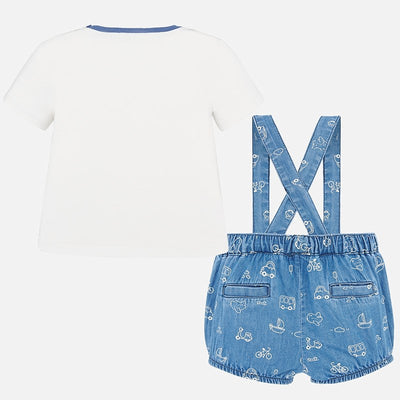 Mayoral Baby Boys French Blue T-shirt and dungaree set   SKU  1663-91  - S/S20